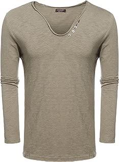 COOFANDY Men's Casual Striped Shirt Long Sleeve Slim Fit Henley Shirts
