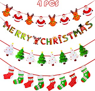 4 Pieces Christmas Banners Christmas Tree Stocking Garland Bunting Christmas Fireplace Wall Signs Flags for Christmas Party Decoration