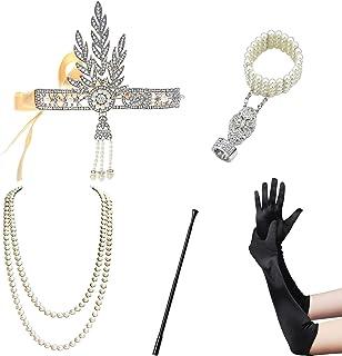 ArtiDeco 1920s Flapper Set Damen Verkleidung Party Gatsby Kostüm Accessoires Set inklusive Stirnband Halskette Handschuhe Zigarettenhalter (Set-13)