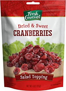 Fresh Gourmet Dried & Sweet Cranberries | 4 Ounce, Pack of 9 | Crunchy Snack and Salad Topper