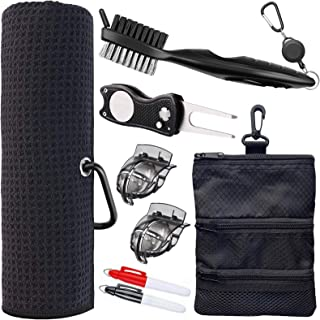 Golf Towel and Tool Accessories Bag KIT - Comes with a Golf Towel, Golf Club Cleaner, Divot Repair Tool, Golf Club Brush, Golf Ball Marker. This are The Perfect Golf Accessories for Men and Women.