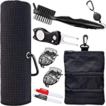 Golf Towel and Tool Accessories Bag KIT - Comes with a Golf Towel, Golf Club Cleaner, Divot Repair Tool, Golf Club Brush, ...