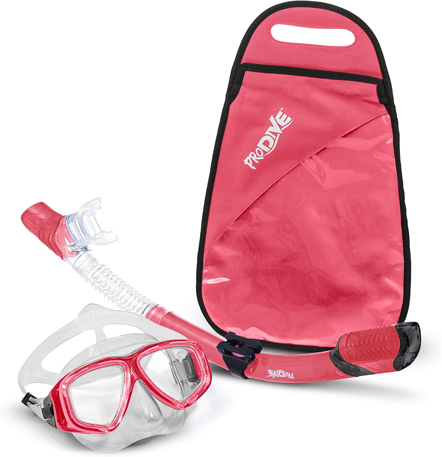 PRODIVE Premium Dry Top Snorkel Set  Impact Resistant Tempered Glass Diving Mask Watertight and AntiFog Lens for Best Vision Easy Adjustable Strap Waterproof Gear Bag Included
