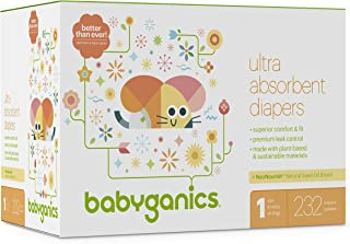 Diapers, Size 1, 232 ct, Babyganics Ultra Absorbent Diapers, Packaging May Vary