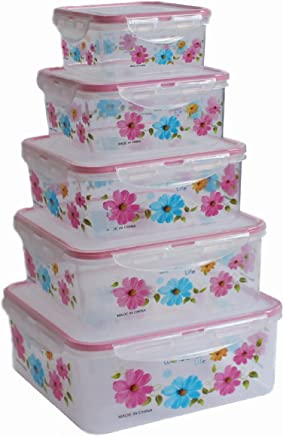 JRM's Food Storage Containers with Lids - Plastic Containers with Lids BPA Free - Leftover Food Containers - Airtight Leak Proof Easy Snap Lock Food Container(3.5L, 2.3L, 1.6L, 1.0L, 0.45L)