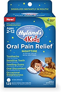 Kids Nighttime Oral Pain Relief Tablets by Hyland's 4Kids, Natural Relief of Toothache, Swelling Gums, and Oral Discomfort, 125 Count