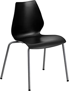Flash Furniture HERCULES Series 770 lb. Capacity Black Stack Chair with Lumbar Support and Silver Frame