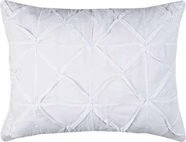 "Rizzy Home BT1884 King Sham, 20""X36"", White/Neutral/"