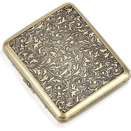 CaLeQi Cigarette Case Holds 20,Flower Golden (Grass)