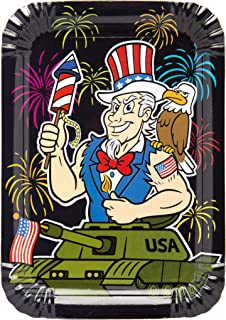Uncle Sam Riding a Tank with Fireworks Paper Plates 12 Pack - Patriotic Party Supplies Decoration Idea for 4th of July BBQs Cookouts and More - by Lavley