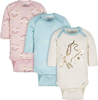 Gerber Baby-Girls 3-Pack Long-Sleeve Onesies Bodysuit Footie
