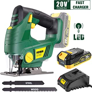 Cordless Jigsaw, POPOMAN 20V Jig Saw with LED Light, 2,000mAh Battery, 1H Fast Charger, 0 - 2,200SPM Adjustable Speed, -45�~ 45� Bevel Cutting, 2Pcs Blades for Wood, Plastic and Metal Cuts - MTW500B