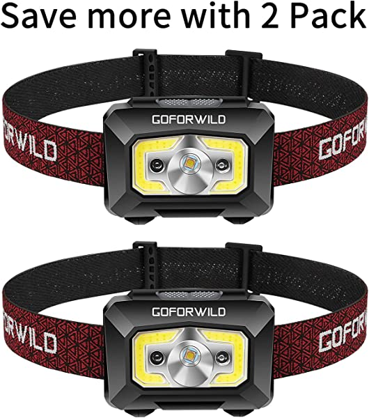 GOFORWILD Rechargeable Headlamp COB Enhanced Headlamp 500 Lumens Ultra Bright Cree LED Rechargeable Flashlight Red Light And Motion Sensor Waterproof For Camping Hiking Outdoors