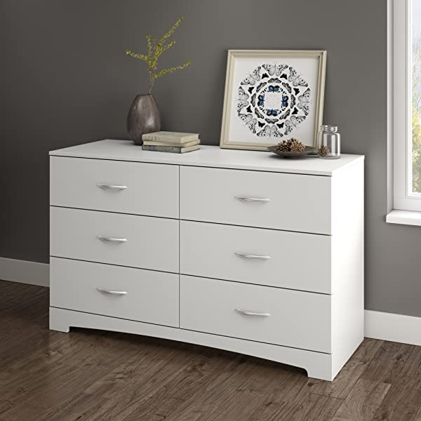 South Shore Step One 6 Drawer Double Dresser White With Matte Nickel Handles