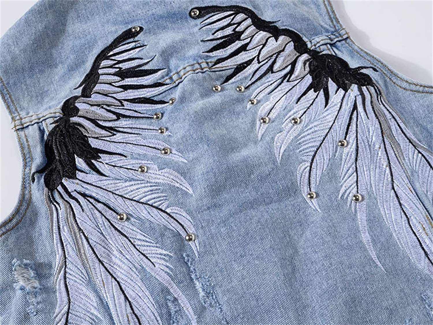 Men's Sleeveless Denim Vest, Embroidered Wings Jeans Ripped Jacket,Destoryed Waistcoat with Studs