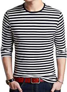 Sponsored Ad - SHUIANGRAN Men's Striped T-Shirt Sport Cotton Shirts Classic Fit Casual Pullover