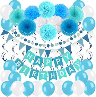 Birthday Decoration Set, Zerodeco Happy Birthday Banner Bunting with 4 Paper Fans Tissue 6 Paper Pom Poms Flower 10 Hanging Swirl and 20 Balloon for Birthday Party Decorations -Blue,Sky Blue and White