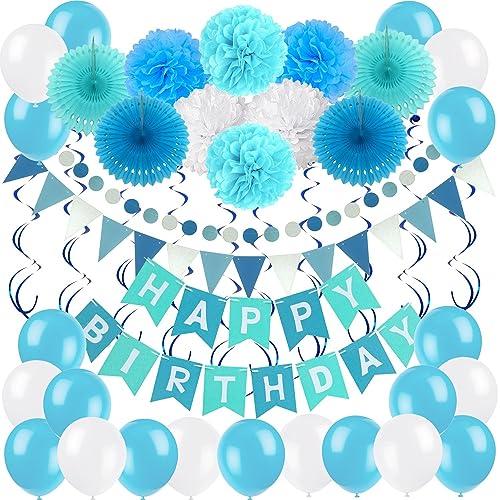 Weimi 30/ème Anniversaire D/écorations pour Hommes Bleu Et Blanc Ballons De Latex Papier Tissu Pom Poms
