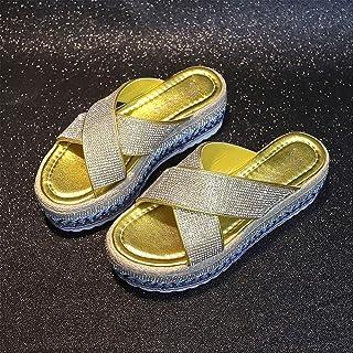 Women beach shoes fashion platform flat slipper ladies summer flip flops rhinestone beach slides
