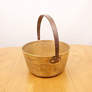 Restored by UKARETRO Heavy Cauldron/Boiler Pot || Vintage Solid Brass || Cast Iron Handle || Large