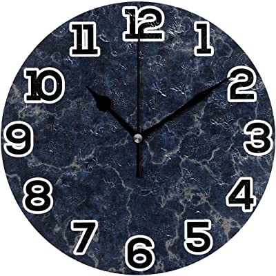 N\O Blue Texture Marble Stone Dark Round Wall Clock 10in Silent Non-Ticking Desk Clock Battery Operated Clocks Paintings Clock for Home Kitchen Living Room Bedroom School Office Decor
