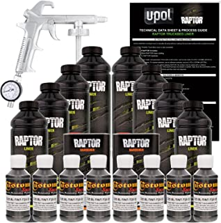 U-Pol Raptor Charcoal Metallic Urethane Spray-On Truck Bed Liner Kit w/Free Spray Gun, 8 Liters