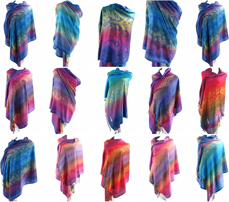 12 scarves paisley rainbow pashmina shawl wrap stole Winter Head Scarf