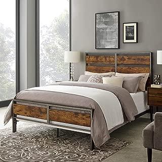 WE Furniture AZQSLRW Plank Metal Queen Size Bed Frame Bedroom, Brown Reclaimed Wood