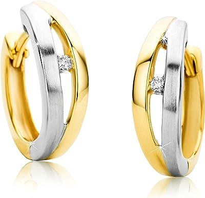 Orovi donna–Orecchini a cerchio, con diamanti, orecchini bicolore/oro bianco e oro giallo, 9carati (375) orecchini, gioielli brillanti 0,4ct