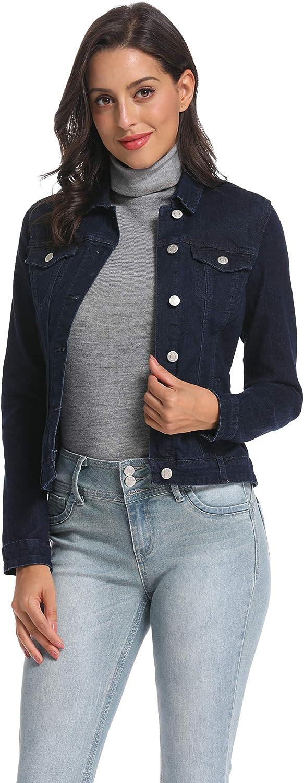 Nicasia Women's Denim Jacket Stretch Jean Jackets Casual Long Sleeve Trucker Jacket
