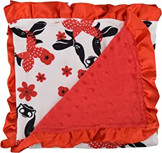 Unique Baby Soft Textured Minky Dot Blanket with Satin Trim, Red Cow