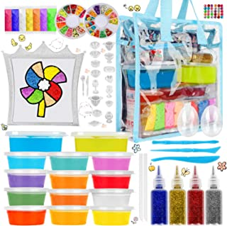 Parts3A Slime Kit for Girls Boys - Luminous and Transparent DIY Slime Making kit which Contains DIY Handmade Fluffy slimes, Glitters, Fruits Slices, Squeeze Stress Relief Toy, DIY Slime Painting.