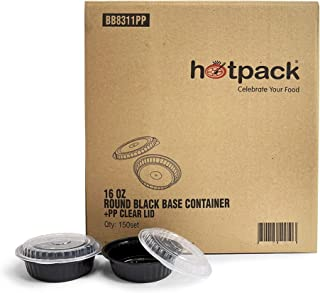 Hotpack Round Black Base Meal Prep Containers with Clear Lids. Lunch Boxes, 16Oz, 150 Pieces 150 Units