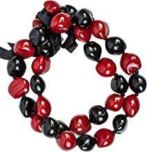 Red and Black Beads Kukui Nut Leis - for Luau Party, Graduation, and Birthday Party. Made with Real 32