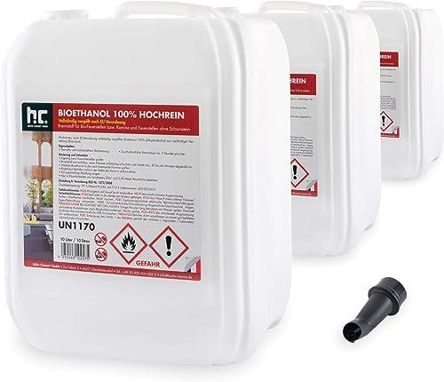 Höfer Chemie 3 x 10 L Bioéthanol 100 % de haute pureté pour cheminée à éthanol, godets à éthanol, feu de table et bra...
