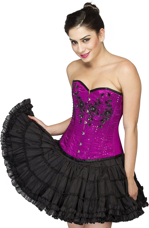 Purple Satin Black Sequins Gothic Burlesque Waist Training Overbust Corset Top