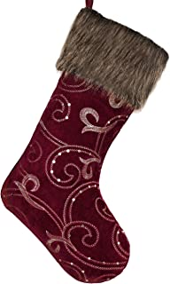 Valery Madelyn 21 inch Luxury Burgundy and Gold Christmas Stockings with Baroque Sequins and Faux Fur, Themed with Tree Skirt (Not Included)