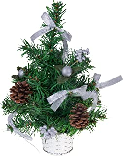 Clever Creations Mini Tabletop Christmas Tree Decorated with Balls, Berries and Bows in a Basket | Festive Holiday Décor | Classic Theme | Lightweight | Shatter Resistant | 12