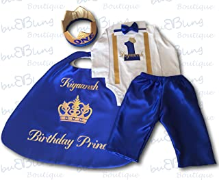 1st Birthday Boy Outfit Long Sleeve Blue Prince