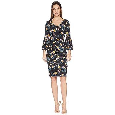 Nicole Miller Bell Sleeve Jersey Dress (Black Multi) Women