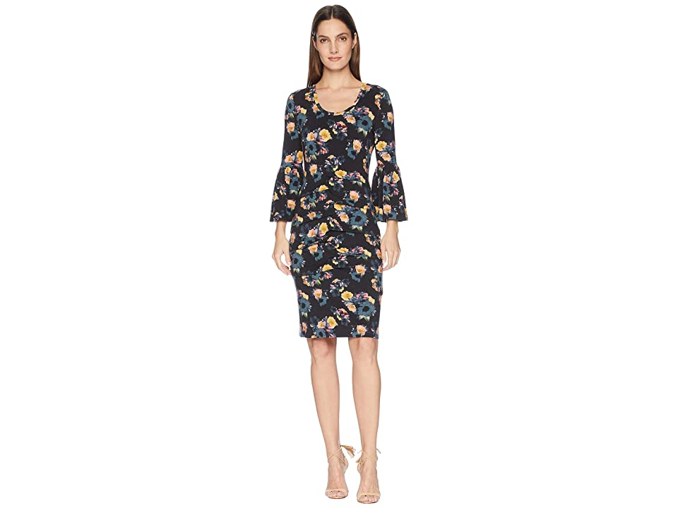 Nicole Miller Bell Sleeve Jersey Dress (Black Multi) Women