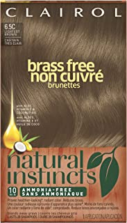 Clairol Natural Instincts Semi-Permanent Hair Color, (Pack of 3), 6.5C Brass Free Lightest Brown Color, Ammonia Free, Lasts for 28 Shampoos