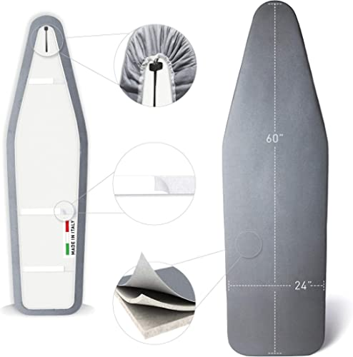 TIVIT Ironing Board Cover 24 x 60 Pro Grip Pad Covers w/3 Fastener Straps & Pull Bungee Cord - Durable Padded Layers ...
