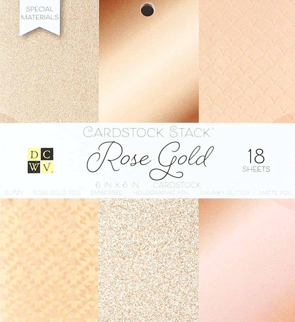 American Crafts 6 x 6 Inch Solid Rose Golds Glitter and Foil 18 Sheets Die Cuts with a View Mat Stacks, 6