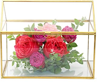 NCYP Large Geometric Glass Card Box Organizer Terrarium Centerpiece Decor Window Tabletop Planter Handmade Garden Patio Square Copper House Shape Flower Pot for Plants Succulent (Renewed)