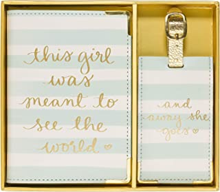 """Dayna Lee Passport Cover Holder And Luggage Tag Set In Gift Box, """"This Girl Was Meant To See The World"""""""
