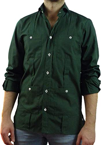 Camisa Guayabera Caballero Verde Botella