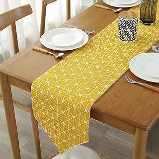 Chemin de Table en Lin, napperons Jaunes à Ourlet Fait Main durables chemins de Table décor lavables pour Les Restaurants ...