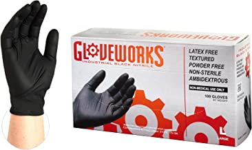 GLOVEWORKS Industrial Black Nitrile Gloves - 5 mil, Latex Free, Powder Free, Textured, Disposable, Medium, BINPF44100-BX, Box of 100