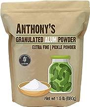 Anthony's Premium Alum Powder, 1.5lbs, Batch Tested & Verified Gluten Free, Granulated Pickle Powder